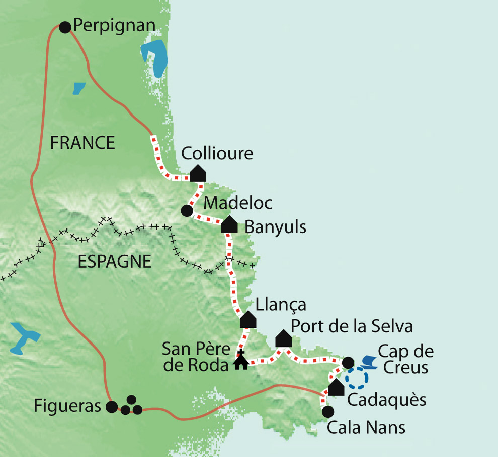 Walking Holidays Hiking Pyrenees Collioure Cadaques guided La