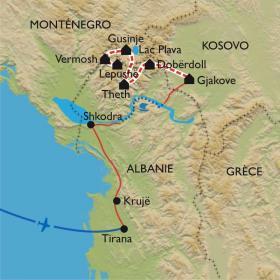 Carte Le trek des Balkans