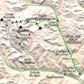 Carte Ascension de l'Aconcagua (6959m) par la voie normale