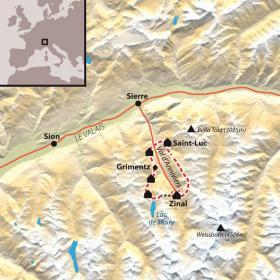 Carte Trek autour des 4000 du Valais