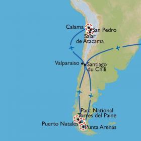 Carte Des glaciers de Patagonie au désert d'Atacama