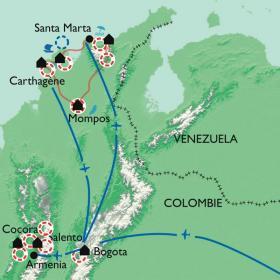 Carte De la zone du café à la côte Caraïbe
