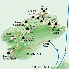 Carte La grande traversée de Santo Antao