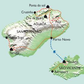 Carte Santo Antao, du côté vert au côté sec