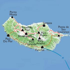 Carte La traversée intégrale de Madère