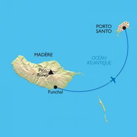 Carte Extension sur l'île de Porto Santo.