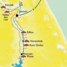 Carte À pied et en felouque le long du Nil