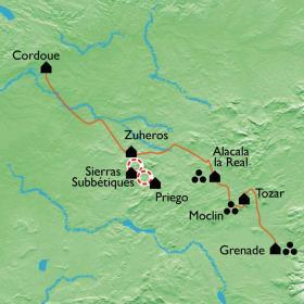Carte De Cordoue à Grenade, sierras et oliviers sur la route du Califat
