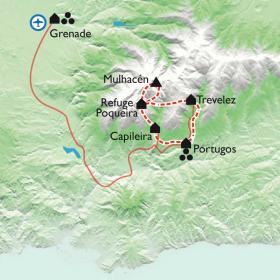 Carte De Grenade à la Sierra Nevada, de l'Alhambra au toit de la péninsule Ibérique