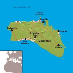 Carte Baléares, Minorque