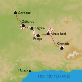 Carte Villages blancs de Cordoue à Grenade, sur la route du Califat