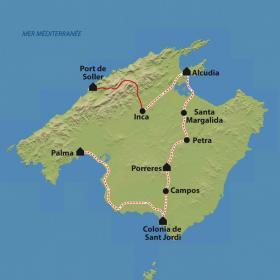 Carte Cyclotourisme à Majorque, sous le soleil des Baléares