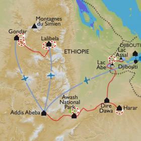 Carte Du Simien à la Corne d'Afrique.