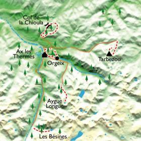 Carte Ax-Les-Thermes, randonnée et balnéo en Ariège
