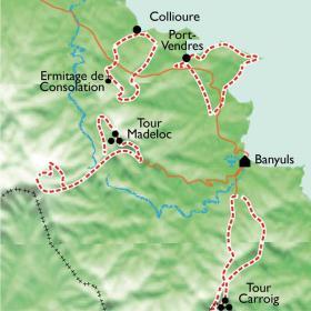 Carte Entre Collioure et Banyuls, randos douces et Spa cocooning