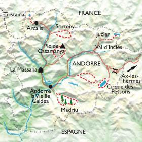 Carte Chemins et lacs d'Andorre