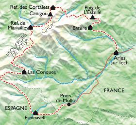 Carte Le Tour du Canigou, la ronde catalane