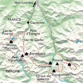 Carte De Cauterets à Gavarnie, lacs et cirques des Pyrénées