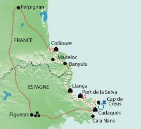 Carte Collioure-Cadaques, par les sentiers du littoral