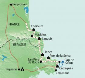 Carte Collioure Cadaques entre mer et montagne
