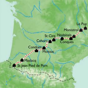 Carte Le Chemin de St Jacques à PIED - BUS, Le Puy en Velay - St Jean Pied de Port