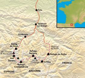 Carte Ariège, Catalogne, Andorre : le trek des