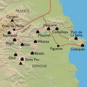 Carte Canigou-Cadaques, par les volcans de la Garrotxa