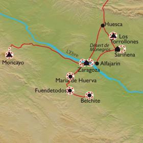 Carte Du désert de Monegros à Zaragoza, la