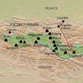 Carte Traversée du Parc National des Pyrénées, de Lescun à Gavarnie