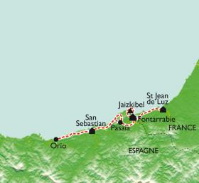 Carte St-Jean-de-Luz - San Sebastian, les balcons de l'Atlantique