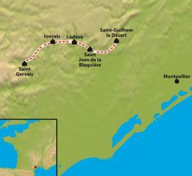 Carte Chemin de Compostelle : Le Chemin d'Arles, St. Guilhem le Désert à St.Gervais sur Mare