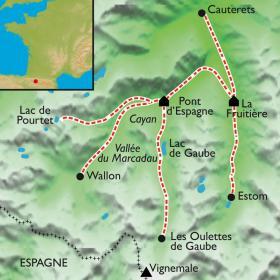 Carte Lacs et cascades de Cauterets, en douceur