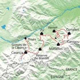 Carte Des gorges de la Carança au Canigou, les belvédères du soleil