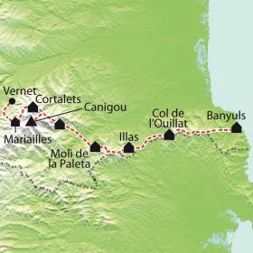 Carte GR10 - Vernet Les Bains - Banyuls Sur Mer (9ème partie)