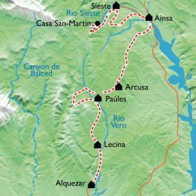Carte Ainsa-Alquezar, villages perchés et canyons de la Sierra de Guara