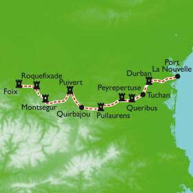 Carte La traversée intégrale du Sentier Cathare, variante Sud
