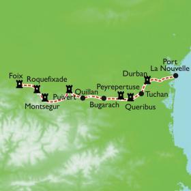 Carte La traversée intégrale du Sentier Cathare, variante Nord