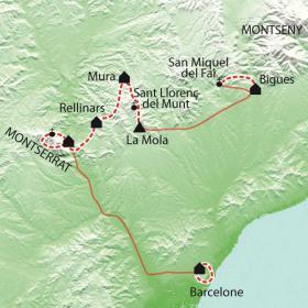 Carte Montserrat-Barcelone, de la montagne à la mer