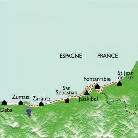 Carte Côte Basque, de St Jean de Luz à Zumaïa