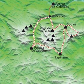 Carte Le tour des Picos de Europa, entre Asturies, Cantabrie, Castille et Léon