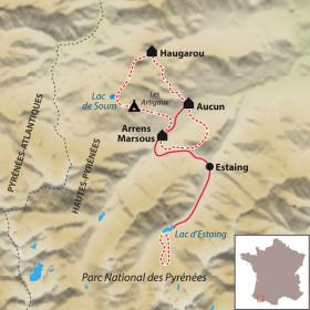 Carte Le Tour du Val d'Azun accompagné, avec des ânes