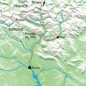 Carte Réveillon à Ainsa, raquettes entre Cotiella et Mont-Perdu
