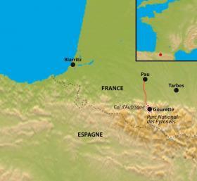 Carte Au pied du col d'Aubisque, réveillon confort à Gourette