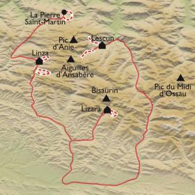 Carte Autour de la Table des 3 Rois, et du Pic d'Anie
