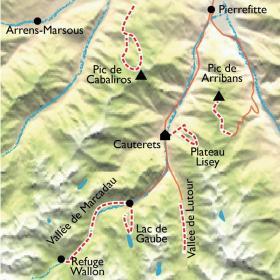 Carte Cauterets balnéo, des bains du Rocher au pied du Vignemale