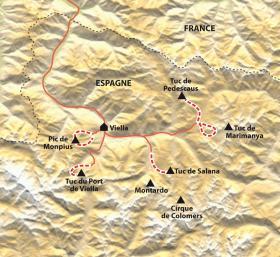 Carte Belvédères des Encantats et de l'Aneto, en douceur