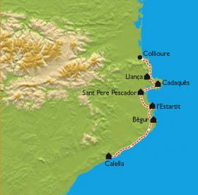 Carte Collioure - Cadaquès - Calella, la Costa Brava en vélo électrique