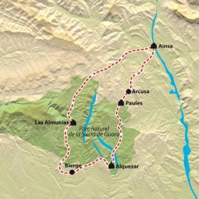 Carte Ainsa et Tour de la Sierra de Guara à VTT