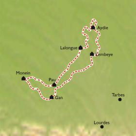 Carte Jurançon Madiran, sur la route des vins en vélo électrique