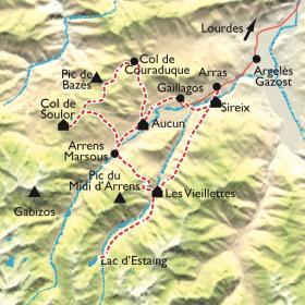 Carte Les balcons du Val d'Azun à VTT électrique.